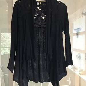 Anthropologie Knitted & Knotted Crochet Cardigan